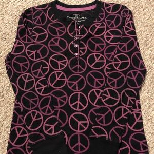Black blouse with pink/purple design